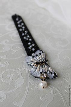 Купить Браслет Brs 2015-5 - черно-белый, браслет, браслет с вышивкой, браслет с бабочкой