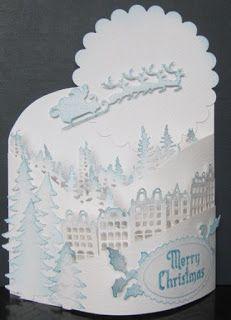 Bendi-fold card - Triple Bendi Spellbinders and Marianne dies Christmas Card Crafts, 3d Christmas, Christmas Gift Decorations, Christmas Cards To Make, Xmas Cards, Fancy Fold Cards, Folded Cards, Pinterest Christmas Cards, Crafters Companion Cards