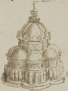 - Leonardo da Vinci Progetto di chiesa a pianta centrale, Parigi, Institut de France