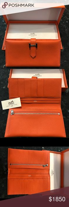 Hermes Wallet Hermes Wallet with gusset in Epsom calfskin and lined with lamb skin. Brand New Hermes Bags Wallets