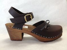 Brown oiled Dalanna with buckled ankle strap by ChameleonClogs, $125.00