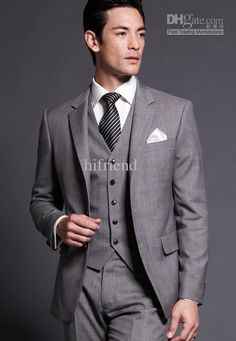 Whole Custom Made New Design Silm High Quality 2 On 3 Pcs Grey Men S Suits Wedding