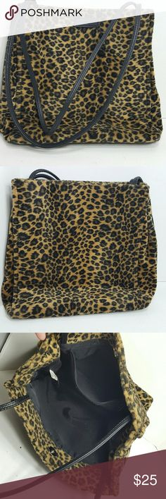 Animal Print Faux fur Bag Super cute and stylish medium sized shoulder bag barley used.  Great condition. New York & Company Bags Shoulder Bags