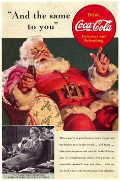 coca cola ads by norman rockwell Coke Santa, Coca Cola Santa Claus, Vintage Coca Cola, Coke Ad, Coca Cola Ad, Pepsi, Norman Rockwell, Vintage Advertisements, Poster