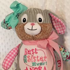 Personalized bunny stuffed animal monogrammed birth announcement bunny personalized baby gift birth announcement birth blocksubway style birth stats monogrammed stuffed animal christian gifts negle Image collections