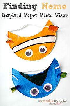 Do you love Disney movies? Then you will love our Finding Nemo Inspired Paper Plate Visor Hat for Kids! A fun craft to make while watching your favorite  big blue sea friends. - abccreativelearning.com