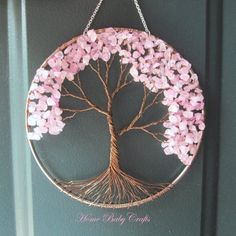 Pink Cherry Tree Wire Tree of Life Wall Hanging decor - wall decor, tree crafts