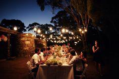 Long tables and festoon lighting Boyd Baker House in Victoria. Summer Wedding, Our Wedding, Dream Wedding, Wedding Stuff, Wedding Ideas Board, Wedding Day Inspiration, Landscape Lighting, Outdoor Lighting, Australia Day