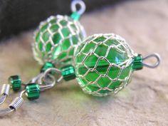 Peridot green glass and mesh dangle earrings by TheAmethystDragonfly, $12.50 USD