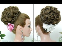 Wedding prom hairstyle for long hair tutorial. Bridal updo step by step - YouTube