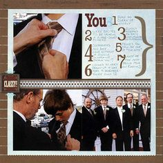 """Blocky Wedding Layout ~~  Love this for a """"guys"""" page!!"""