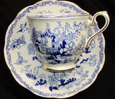 Royal Albert Mikado Teacup and Saucer Blue And White China, Blue China, Royal Albert, Coffee Set, Coffee Cups, China Tea Cups, My Cup Of Tea, Tea Service, Objet D'art