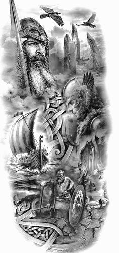 Viking Ship Tattoo, Viking Warrior Tattoos, Viking Tattoo Sleeve, Viking Tattoo Symbol, Viking Tattoo Design, Slavic Tattoo, Norse Mythology Tattoo, Greek Mythology Tattoos, Norse Tattoo