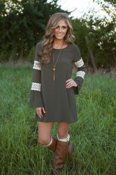 Love is what you will find with this dress. The olive color is not only adorable but is perfect for Fall along with the bell sleeves that have a couple of croch