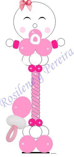 Projeto coluna de balões bebê.