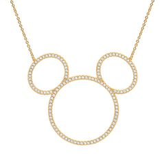 Mickey Mouse Icon Silhouette Necklace by Crislu - Yellow Gold