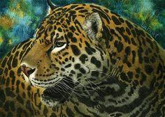 """Daily Paintworks - """"Jaguar: Amazon Series #4"""" - Original Fine Art for Sale - © Sandra LaFaut"""
