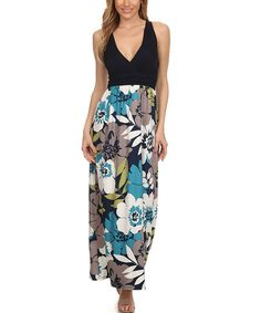 Love this neckline and don't always like floral but this is really cute! Navy Floral V-Neck Maxi Dress on #zulily! #zulilyfinds