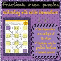 3 Adding fractions with unlike (multiple) denominators mazes. Fun maze activity, loads of questions. 3 different sheets. Adding Fractions, Adding And Subtracting Fractions, Equivalent Fractions, Maze Puzzles, Test Prep, Student Work, Fun Activities, Ads, Students