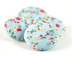 Pale Blue Floral Buttons 15 inch Fabric Covered by thewoolenmills, $5.00