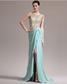 osell wholesale dropship Chiffon Paillette Round Neck Single Capped Sleeve Court Train A Line Evening Prom Dress $74.13