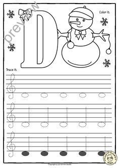 A set of 26 music worksheets Winter and Christmas themed is created to help your students learn to trace, copy, color and draw notes on the staff Treble pitch. C first – A second octaves Learning Music Notes, Music Education, Music Lessons For Kids, Music For Kids, Piano Lessons, Art Lessons, Piano Songs For Beginners, Music Theory Worksheets, Piano Classes