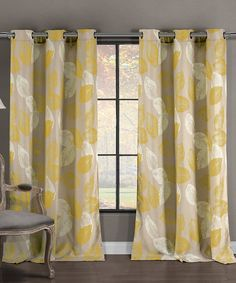 Misted Yellow Milzie Curtain Panel - Set of Two