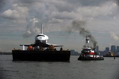 Space Shuttle Enterprise floats to a new home: New York's Intrepid Sea Air and Space Museum