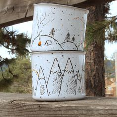 Hey, I found this really awesome Etsy listing at https://www.etsy.com/listing/235476704/mountain-getaway-mugs-set-of-2