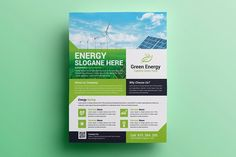 Green Energy Flyer by on Flyer Design Templates, Flyer Template, Banners, Creative Flyers, We Energies, Photoshop Cs5, Fitness Logo, Advertising Design, Solar Energy