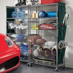 3 roll-out baskets and 3 flat shelves. Each basket and shelf holds up to 40 lbs. of balls, bats, shoes, and other sports gear. Includes a hanging canvas storage bag. Casters add mobility (sold separately). Minor assembly. Chrome-finished Sport Shelving with Pull-out Bins elevates sports equipment storage to the big leagues.Keep the entire family's sports gear and balls, camping... more»