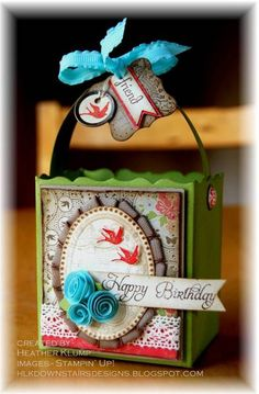 """♥♥♥  Stampin' Up! """"Elementary Elegance"""" stamp set used on this gorgeous gift box/bag.  ♥ the flowers!"""