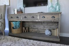 50 cool tv stand designs for your home tv stand ideas diy, tv stand ideas for living room, tv stand ideas bedroom, tv stand ideas black, tv stand ideas Decor, Home Living Room, Farmhouse Decor, Diy Tv Stand, Farmhouse Chic, Rustic Decor, Home Decor, Sideboard Console, Rustic House