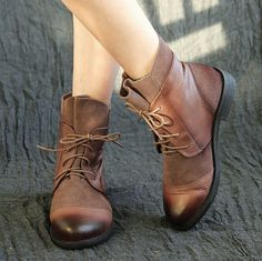 Handmade Ankle Boots,Oxford Women Shoes with Lace, Retro Leather Shoes, Casual Shoes, Short Boots, Booties