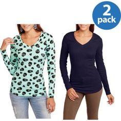 No Boundaries Juniors Long Sleeve V-Neck Tee 2 Pack - Walmart.com