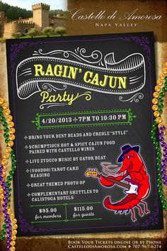 Rajin' Cajun Party at the Castello April 20, 2013! Grab your best beads and enjoy a night of Louisiana fare with live Zydeco music, dancing, and wine!