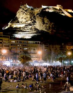 Alicante, Spain. Nights on the beach beneath a castle.