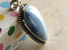 GC624 Dark Blue White Owyhee Blue Opal Cabochon Gorgeous Teardrop Pendant or Ring Wonderful Pattern Light Blue by JewelryArtistry