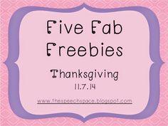 The Speech Space: Five Fab Freebies: Thanksgiving