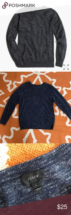 J. Crew cotton linen sweater- heather navy Cotton and linen might be one of the all-time best pairings in the summer since umbrella drinks and beaches. Our reasoning is this: Linen is lightweight and breathable but sometimes wrinkles a little too much, while cotton just isn't light enough. We joined the two together in this laid-back layer with a weight that's both easy to wear and still a bit structured, so you stay polished and don't overheat.   Cotton/acrylic/linen. Machine wash. Item…
