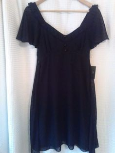 New-ALICE-TEMPERLEY-Sz-9-Little-Black-Dress-Black-on-Black-Dots-Flutter-Sleeve