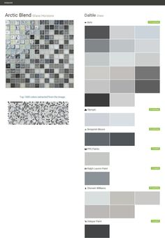Arctic Blend. Glass Horizons. Glass. Daltile. Behr. Olympic. Benjamin Moore. PPG Paints. Ralph Lauren Paint. Sherwin Williams. Valspar Paint.  Click the gray Visit button to see the matching paint names.