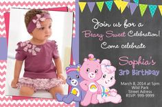 Carebears Care Bears  Birthday Invitation Photo by Cardsbyrosi, $7.50
