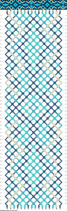 Friendship bracelet pattern - 16 strings, 4 colors - squares, diamonds, hexagons