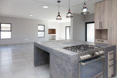 73 on Sleigh - Crontech Consulting Concrete Kitchen, Concrete Countertops, Freestanding Cooker, Copper Pendant Lights, Building Contractors, Concrete Design, Rustic Industrial, Counter Tops, Hanging Lights