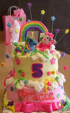 hello kitty, unicorn, and rainbow cake- minus the hello kitty, maybe a princess?