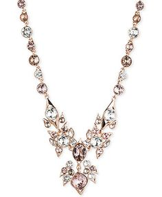Givenchy Rose Gold-Tone Crystal Drama Frontal Necklace