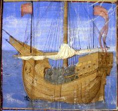 Joseph d'Arimathie naviguant (f°1) -- «Tristan de Léonois», France, vers 1470 [BNF Ms Fr. 102] -- cote: Français 102