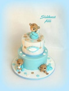 Christening cake - Cake by Alll Cupcakes, Cupcake Cakes, Teddy Bear Cakes, Baby Shower Cakes For Boys, Funny Cake, Wilton Cake Decorating, Communion Cakes, Classic Cake, Cake Pictures