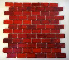 Red Brick 12x12 Rustic Glass Tile Mosaic Sheet (1x2 Tiles)